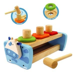 An educational toy designed to develop hand-eye co-ordination and physical skills. Hammer the pegs, turn them over and go again!