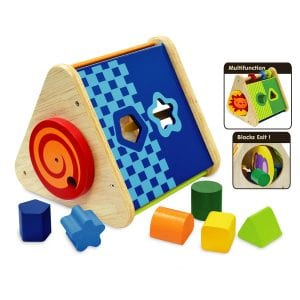 A multi functional educational activity toy that teaches shape sorting, colour matching and counting. Also features a disc picture spinner and spiral end spinner.