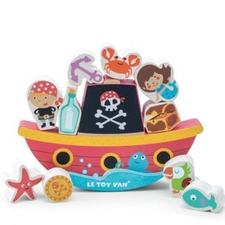 An adorable pirate themed, solid rubberwood rocking ship complete with ten stackable pieces.