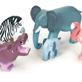 A set of five painted wooden animals that includes an elephant, elephant calf, hippopotamus, zebra and flamingo.