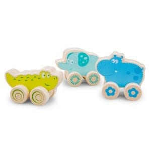 Set of 3 extra cute wooden animals on wheels. Includes Hippo, Crocodile and Elephant
