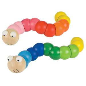 Brightly coloured and very wiggly, these segmented wooden worms can shuffle along in all directions!