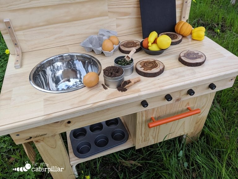 handmade mud kitchen, outdoor play