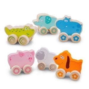 Set of 3 extra cute wooden animals on wheels. Includes Sheep, Dog and Pig. Coloured edges.