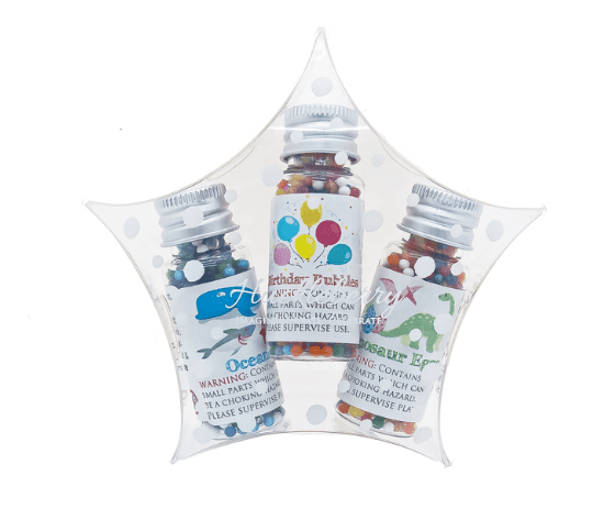 Water Marbles Trio Stars - Birthday Bubbles Dino (Over 40g of water marbles per star!)